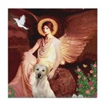 Seated Angel-Yellow Lab 7 Tile Coaster