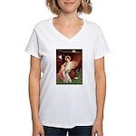 Seated Angel-Yellow Lab 7 Women's V-Neck T-Shirt