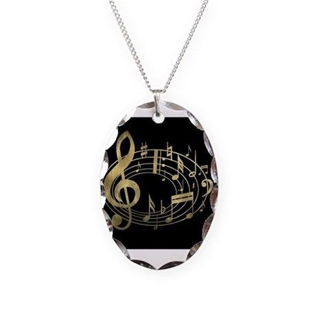 Golden Musical Notes Oval Necklace Oval Charm