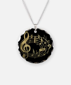 Golden Musical Notes Oval Necklace