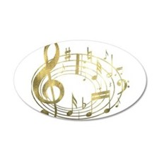 Golden Musical Notes Oval 22x14 Oval Wall Peel