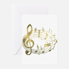 Golden Musical Notes Oval Greeting Cards (Pk of 20