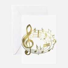 Golden Musical Notes Oval Greeting Card