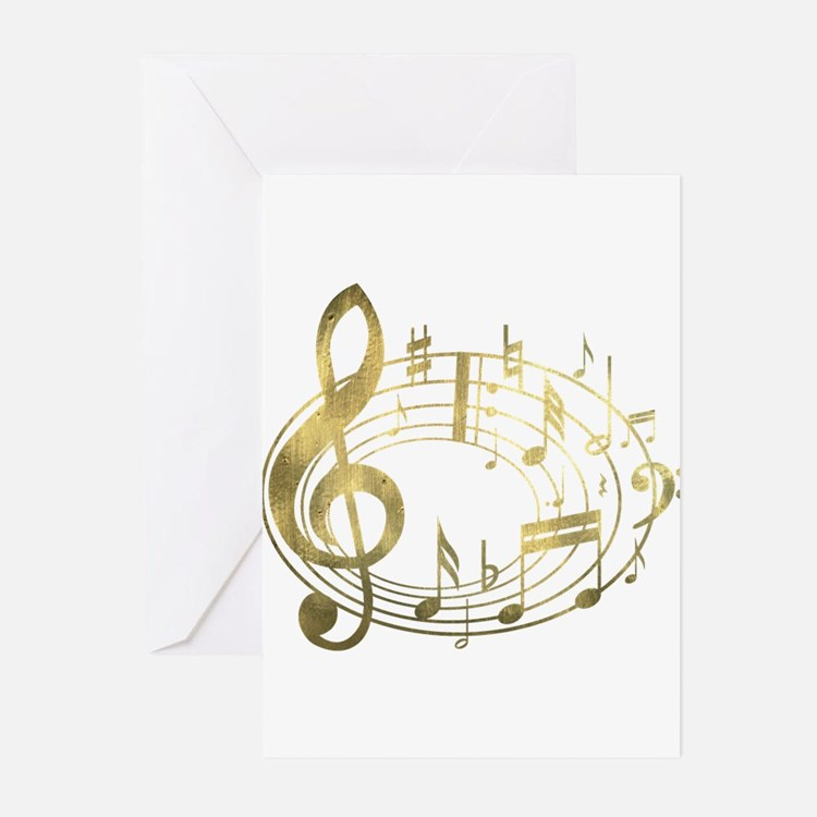 Golden Musical Notes Oval Greeting Cards (Pk of 10