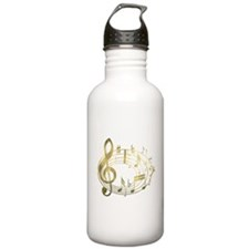 Golden Musical Notes Oval Sports Water Bottle
