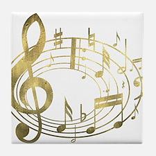 Golden Musical Notes Oval Tile Coaster