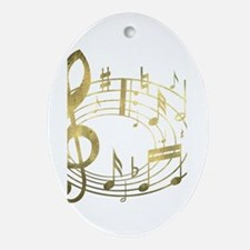 Golden Musical Notes Oval Ornament (Oval)