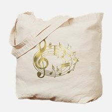 Golden Musical Notes Oval Tote Bag