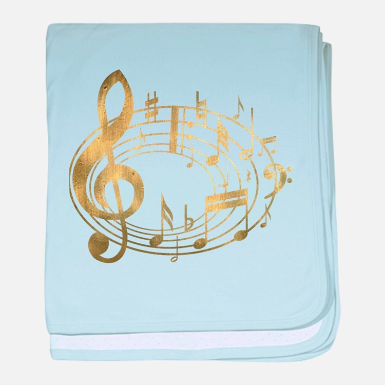 Golden Musical Notes Oval baby blanket