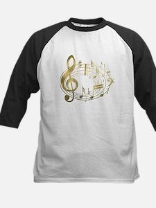Golden Musical Notes Oval Kids Baseball Jersey