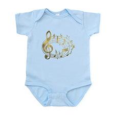 Golden Musical Notes Oval Infant Bodysuit