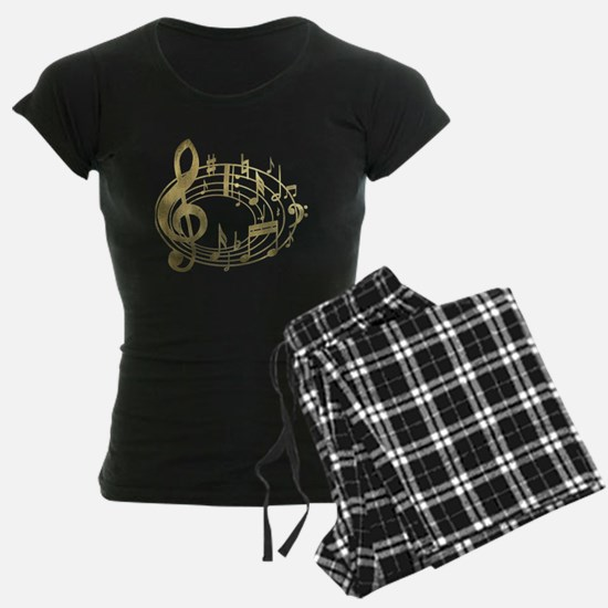 Golden Musical Notes Oval pajamas