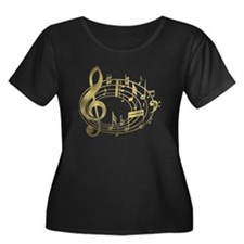 Golden Musical Notes Oval T