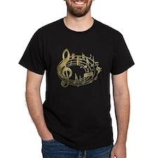 Golden Musical Notes Oval T-Shirt