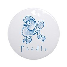 Poodle Illustration Ornament (Round)