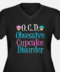 Cute Cupcake Women's Plus Size V-Neck Dark T-Shirt