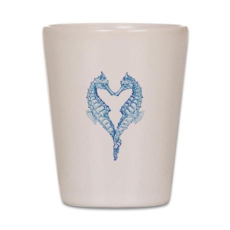 2 blue seahorses together Shot Glass