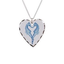 2 blue seahorses together Necklace