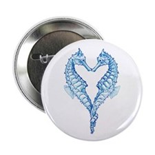 """2 blue seahorses together 2.25"""" Button"""