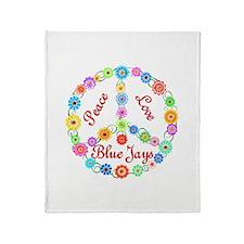 Peace Love Blue Jays Throw Blanket