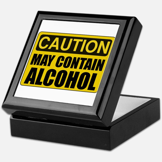 Caution May Contain Alcohol Keepsake Box