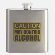 Caution May Contain Alcohol Flask