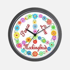 Peace Love Mockingbirds Wall Clock