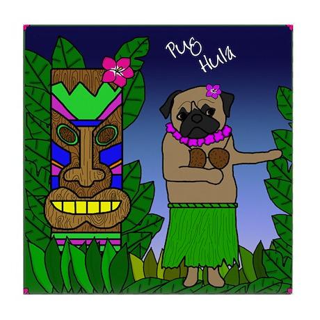 Pug Hula Tile Coaster