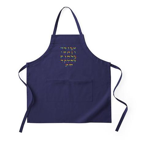 Hebrew Alef bet Alphabet Apron (dark)
