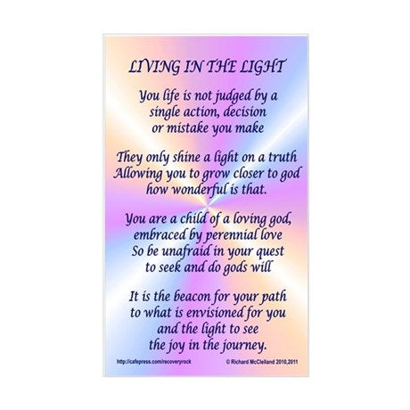 Living In The Light Sticker (Rectangle)