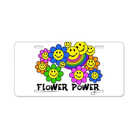 Flower Power World Peace and Aluminum License Plat