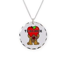 Teachers Apple Bear Necklace