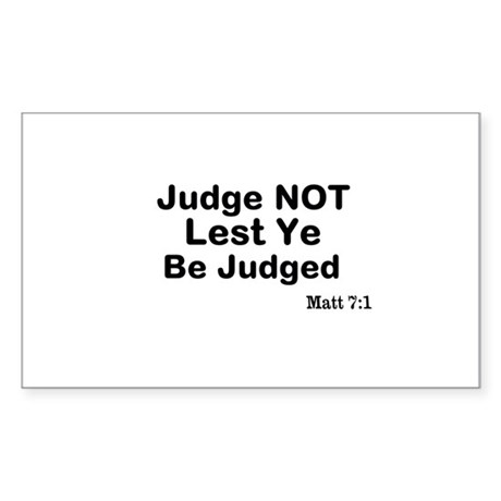The Bible & Not Judging Sticker (Rectangle)