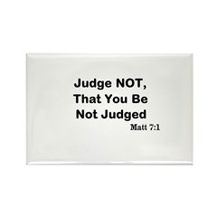 Jesus & Not Judging Rectangle Magnet (10 pack)