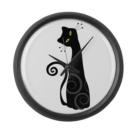 Whimsical Cat Large Wall Clock