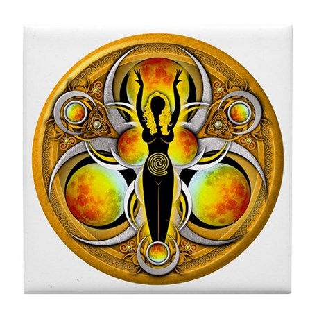 Goddess of the Yellow Moon Tile Coaster