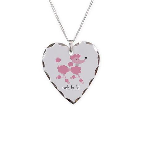 ooh la la poodle Necklace Heart Charm