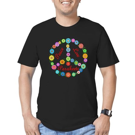 Peace Love Parakeets Men's Fitted T-Shirt (dark)
