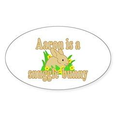 Aaron is a Snuggle Bunny Sticker (Oval 50 pk)