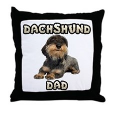 Wirehaired Dachshund Dad Throw Pillow