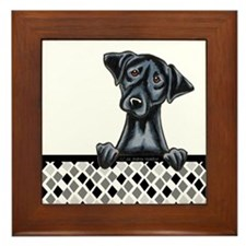 Black Lab Diamond Framed Tile