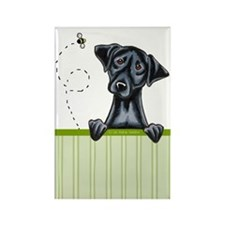 Bee Nice Black Lab Lover Rectangle Magnet
