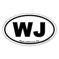West Jefferson NC WJ Euro Oval Decal