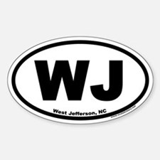 West Jefferson NC WJ Euro Oval Decal