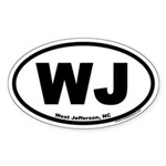 West Jefferson NC WJ Euro Oval Sticker