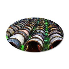 Colorfully Weathered Tile Roof 22x14 Oval Wall Pee