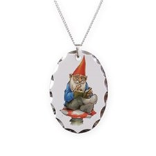German Gnome on a Mushroom Necklace