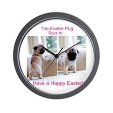 Easter Pug Wall Clock