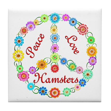 Peace Love Hamsters Tile Coaster