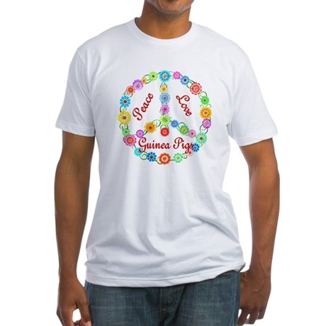 Peace Love Guinea Pigs Fitted T-Shirt
